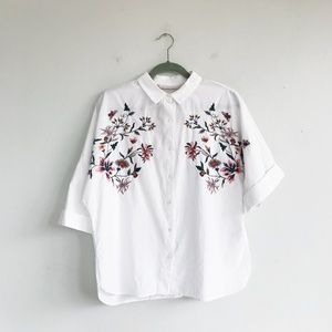 Zara White Shirt With Floral Embroidery
